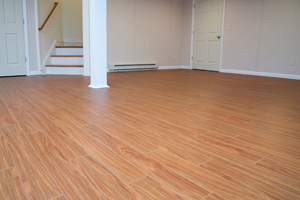 Faux wood basement flooring