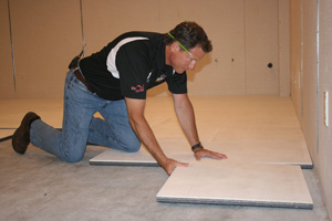 Installing ThermalDry® insulated floor decking in Cuyahoga Falls