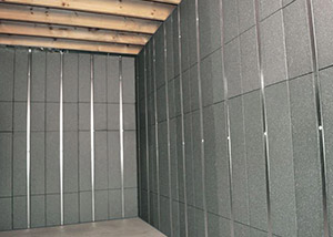 SilverGlo™ insulation and metal studs making up our Basement to Beautiful™ panels.  Installed in Lorain.