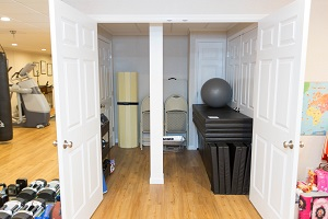 TBF finished basement with home gym in Cuyahoga Falls