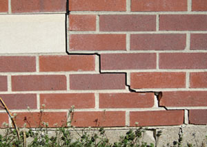 a foundation wall crack on a Solon home.