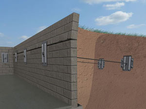 A graphic illustration of a foundation wall system installed in Barberton