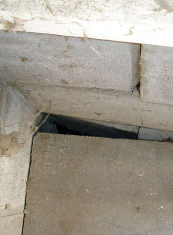 inward rotation of a foundation wall damaged by street creep in a garage in Avon Lake