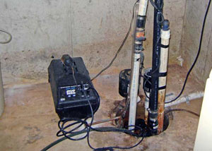 Pedestal sump pump system installed in a home in North Ridgeville